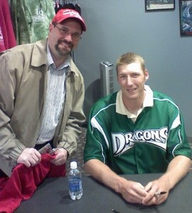 Me and poor Andrew Bowman, of the Dayton Dragons